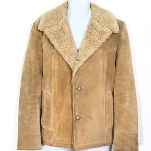 Cresco Vintage Leather Shearling Lined Jacket 42